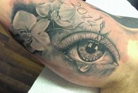 Grey Flowers And Crying Eye Tattoo On Inner Bicep Marley Tattoo with sizing 960 X 957