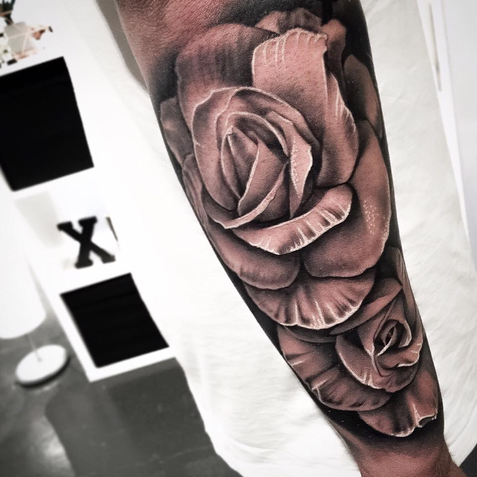 Grey Ink 3d Rose Tattoo On Arm intended for sizing 960 X 960