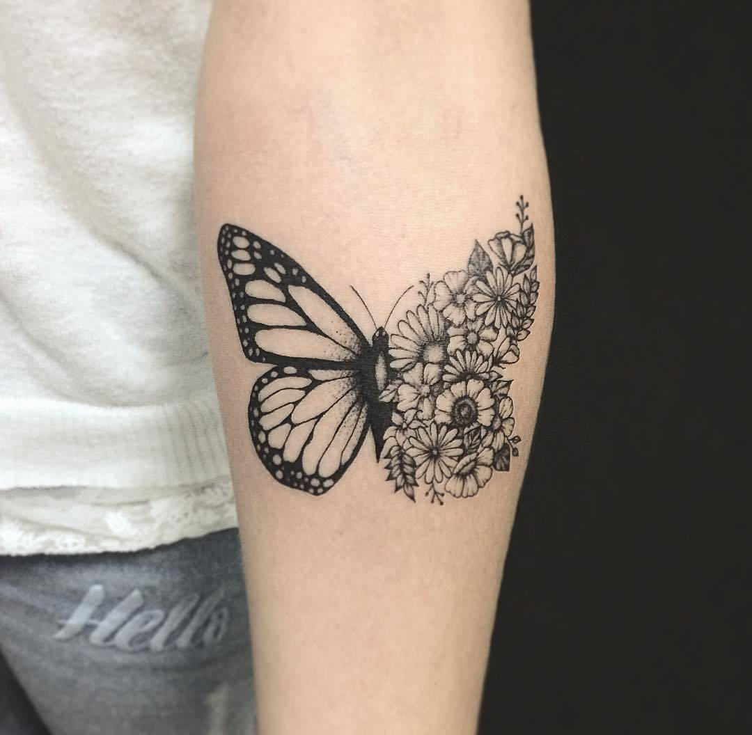 Half Butterfly And Flower Tattoo On Inner Arm with measurements 1080 X 1056