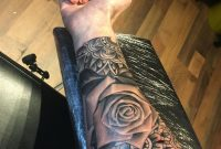 Half Mandala Rose Sleeve Women Female Tattoo Black And White Grey regarding proportions 3024 X 4032