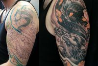 Half Sleeve Black And Grey Colour Dragon Cover Up Tattoo 3648 throughout sizing 3648 X 3264