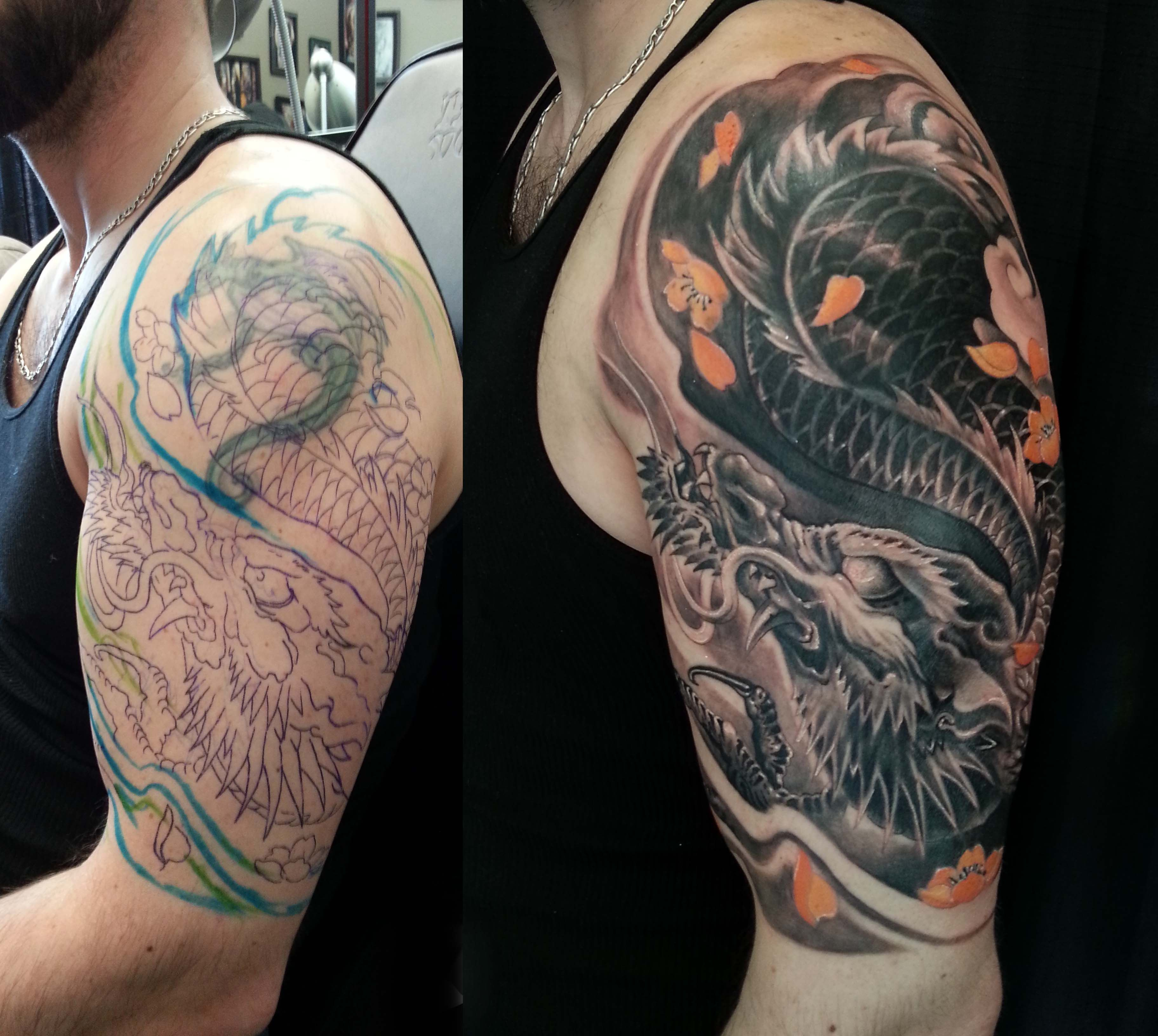 Half Sleeve Black And Grey Colour Dragon Cover Up Tattoo 3648 with sizing 3648 X 3264
