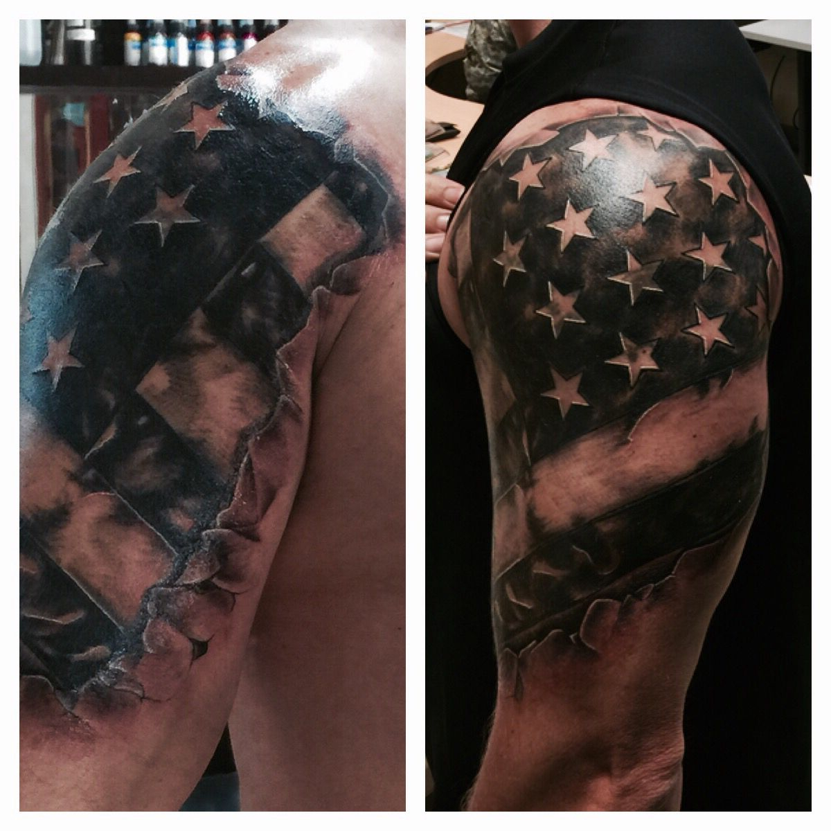 Image Result For Black And White American Flag Shoulder Tattoo With Regard To Size 1200 X