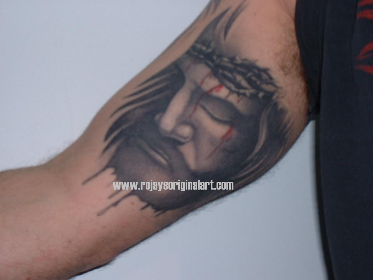Inner Bicep Grey Ink Jesus Tattoo with size 1280 X 960