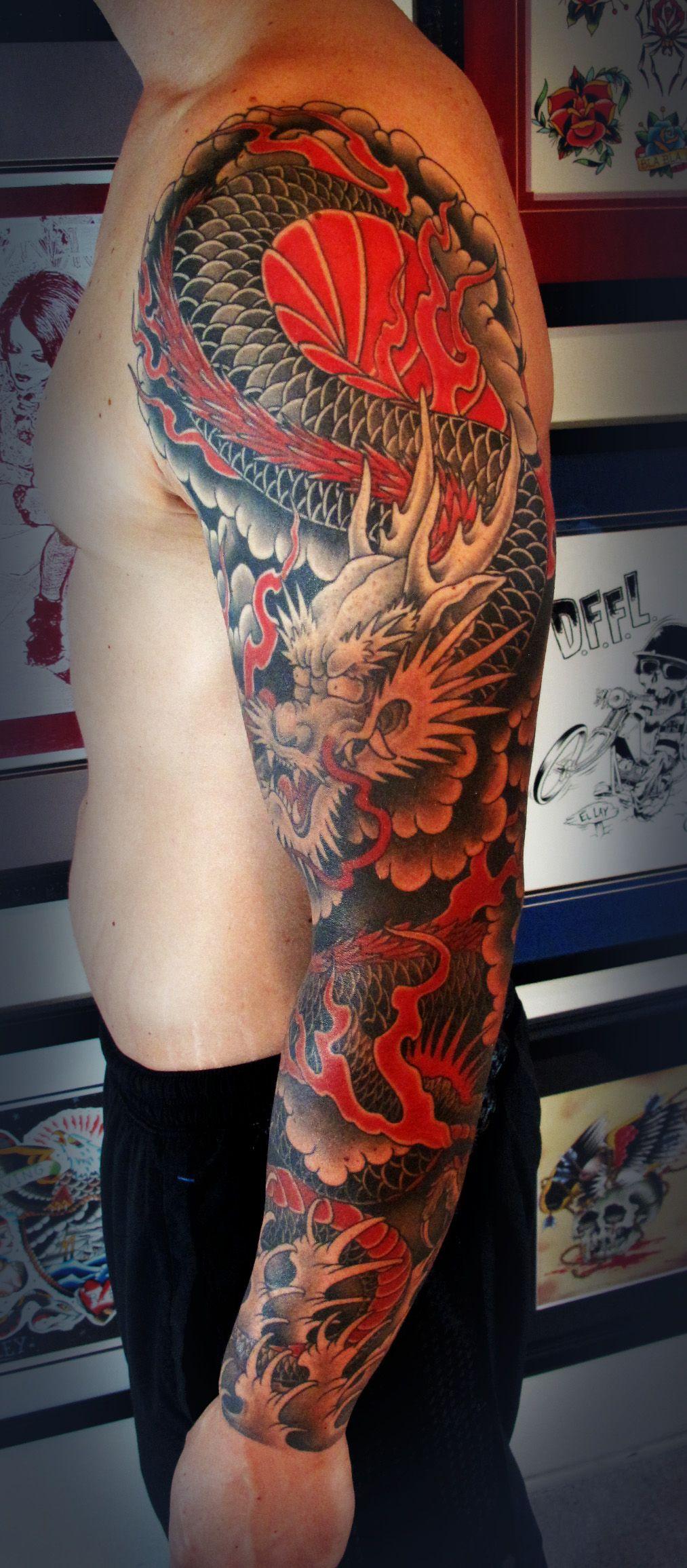 Japanesedragontattoos Dragon Sleeve Saltwatertattoo Japanese regarding proportions 1013 X 2311