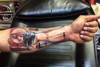 Jesus 3d Lower Arm Tattoo Blacky Blackys Tattoo Studio Similar regarding proportions 1136 X 844