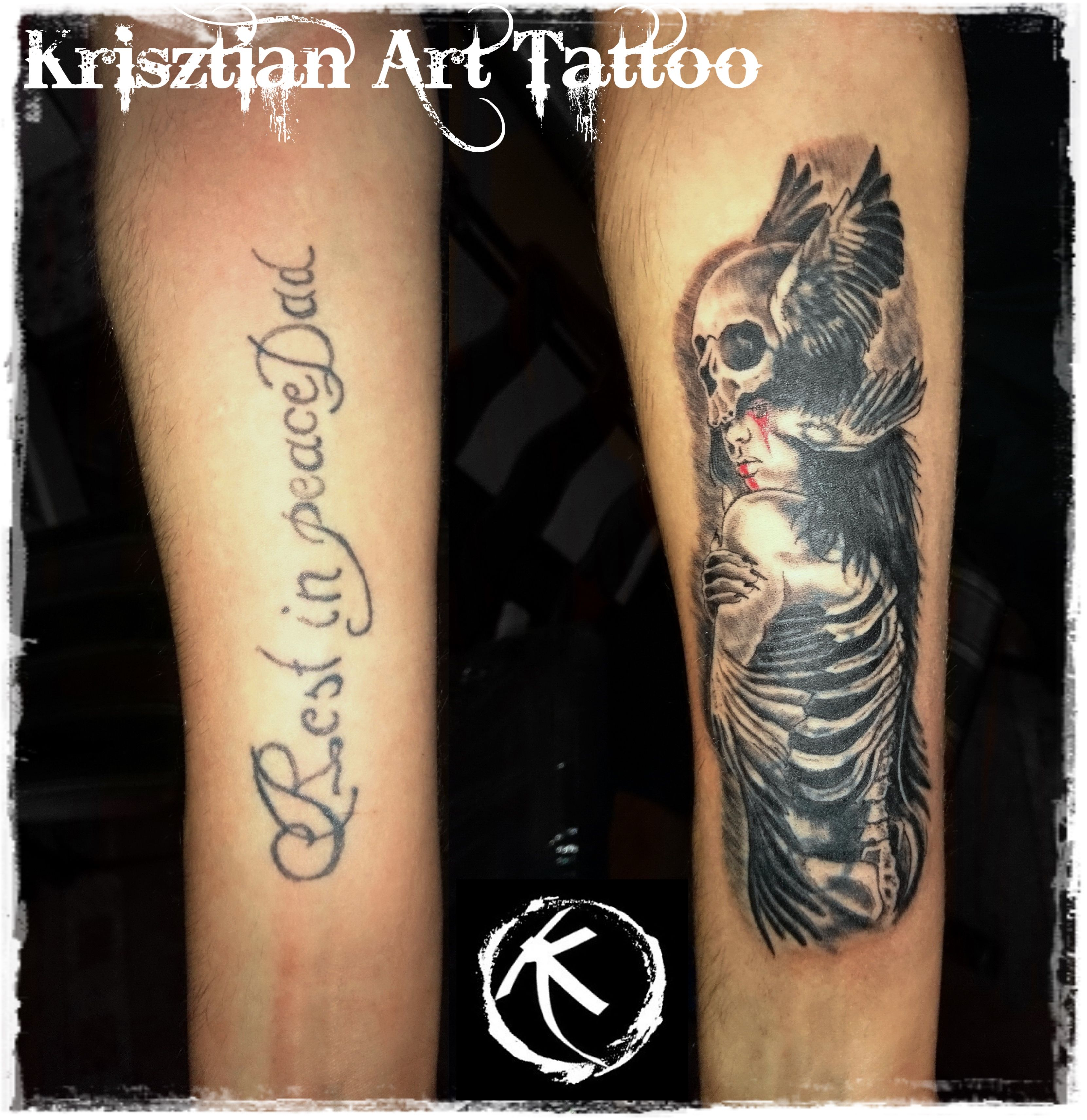 Krisztian Art Tattoo Cover Up Tattoo Forearm Skull And Girl with proportions 3322 X 3422
