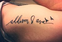 Left Inner Bicep Tattoo Of My Daughters Names With Two Birds To inside proportions 1334 X 1000