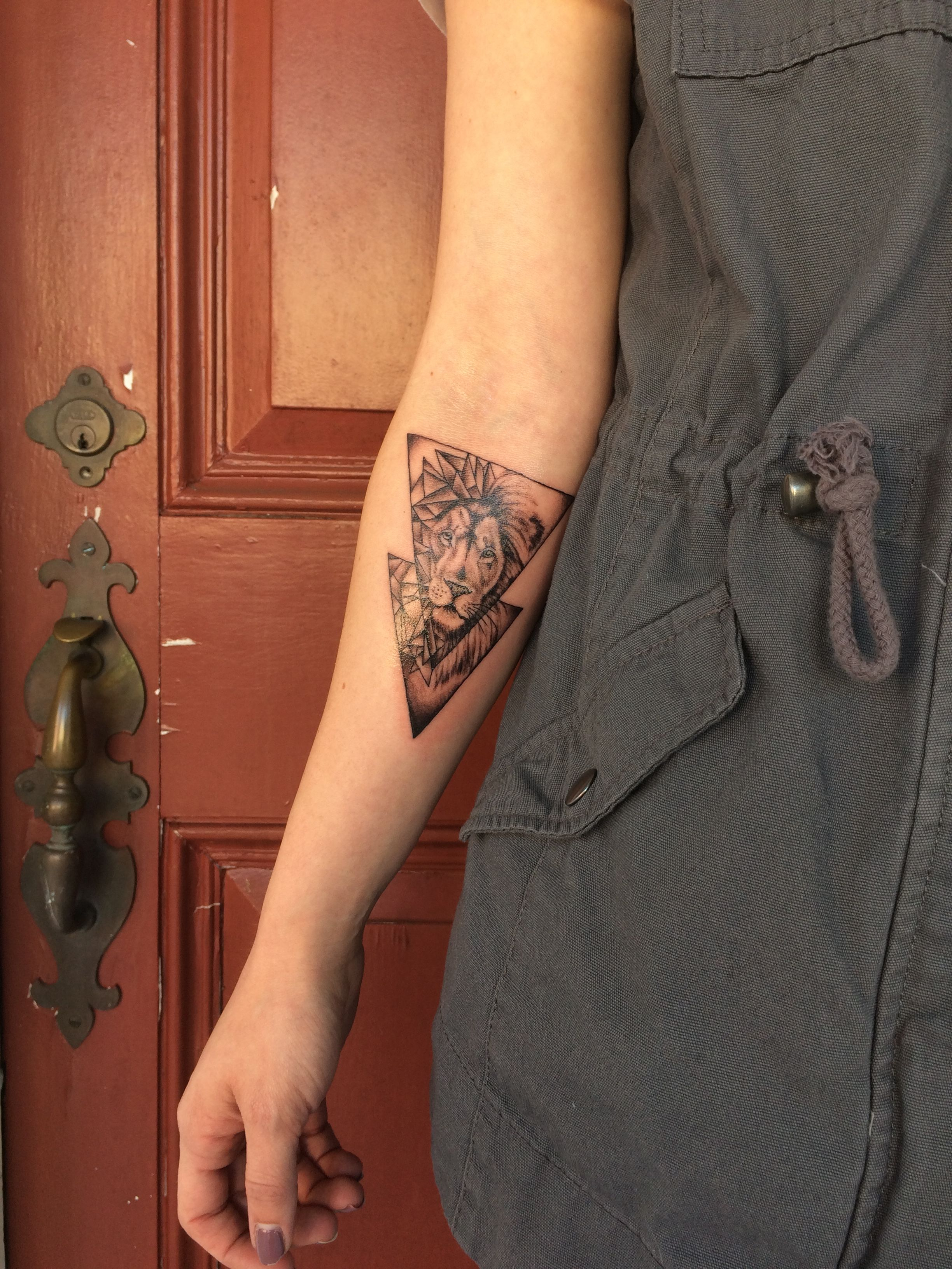 Lion Triangle Tattoo On Forearm Half Geometric And Half Realistic intended for dimensions 2448 X 3264