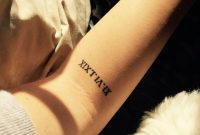 Little Forearm Tattoo Of Her Moms Birthday In Roman Numerals On pertaining to sizing 1200 X 1200