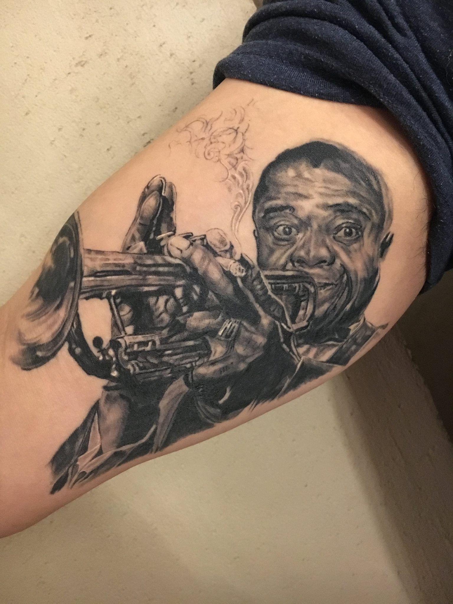 Louis Armstrong Potrait Tattoo Febianto Eskelinen La Muerte Ink regarding dimensions 1536 X 2048