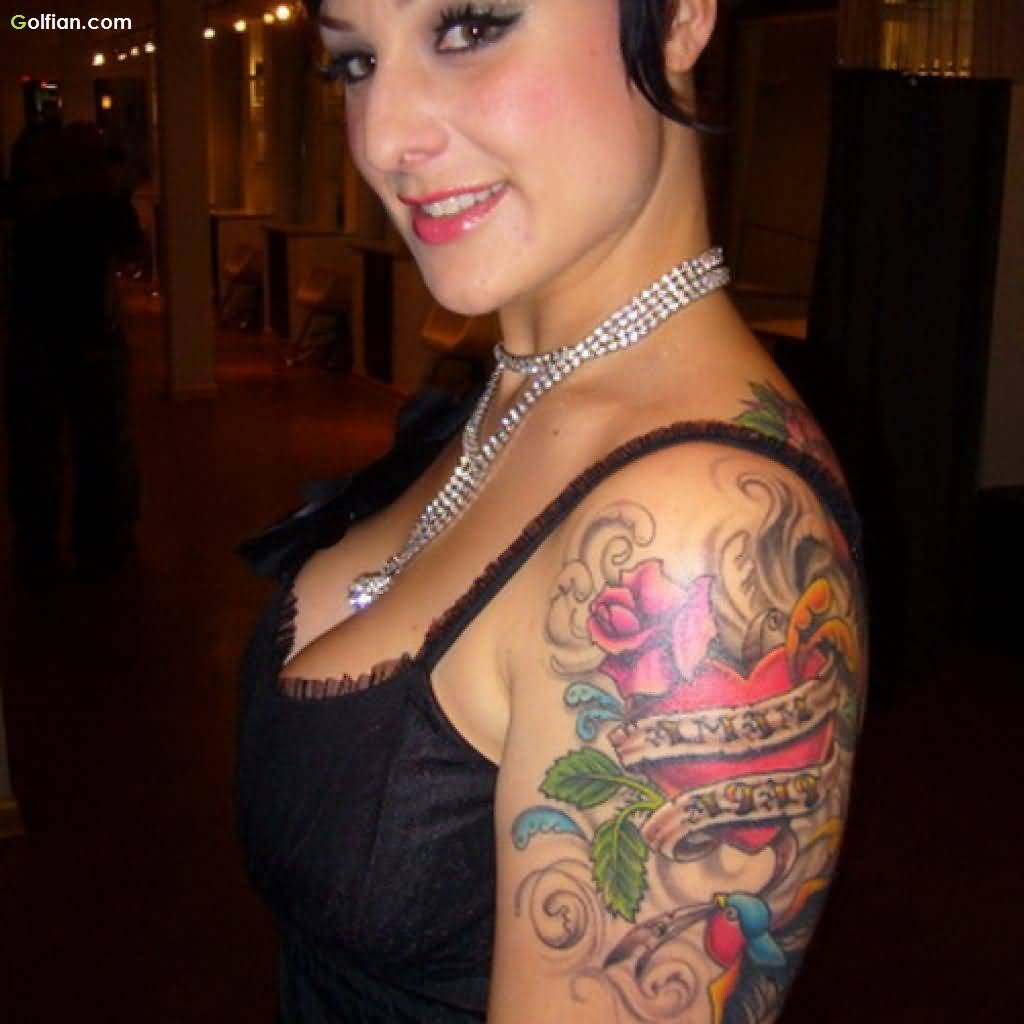 Lovely Women Show Amazing Red Rose And Heart Tattoo On Upper Arm with regard to sizing 1024 X 1024