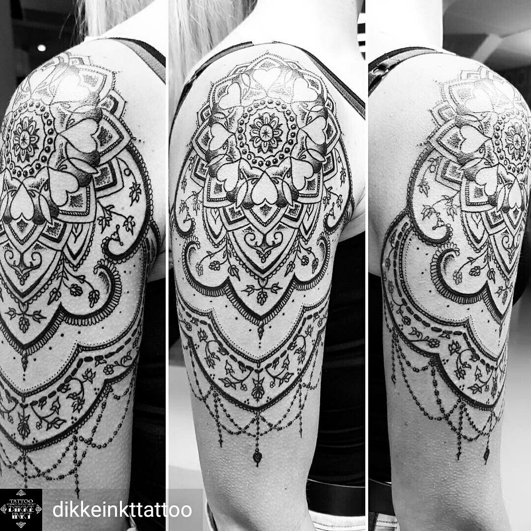 Mandala Dotwork Shoulder Upper Arm Tattoo Women Black And Grey pertaining to size 1080 X 1080