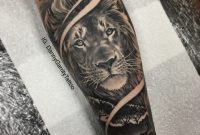 Mens Forearm Sleeve Tattoo Lion With Silhouette In Realism for size 1818 X 1818
