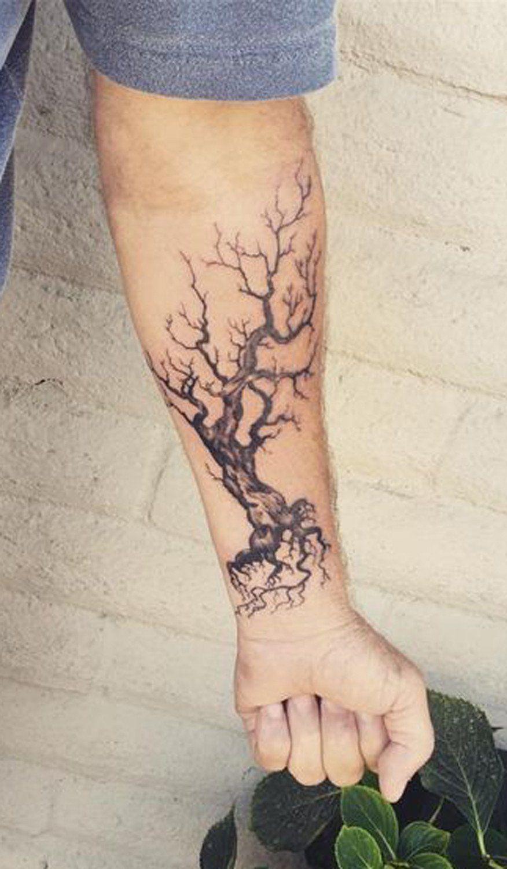 Mens Tattoo Ideas Dead Oak Tree Forearm At Mybodiart Tree with regard to measurements 876 X 1500