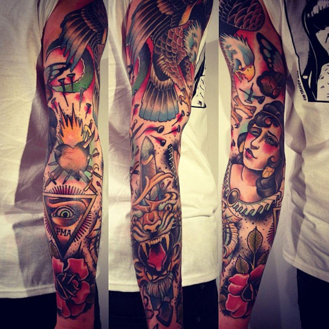 Moon Woman Rose Eagle Arm Tattoo Neo Traditional Alex Drfler Sances inside proportions 1280 X 1280