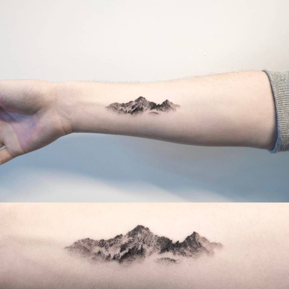 Mountain Tattoo On The Right Inner Forearm Tattoo Small in proportions 1000 X 1000
