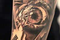 Original Designed Big Clock Tattoo With Scary Eye On Arm Tattoowf with size 791 X 1055
