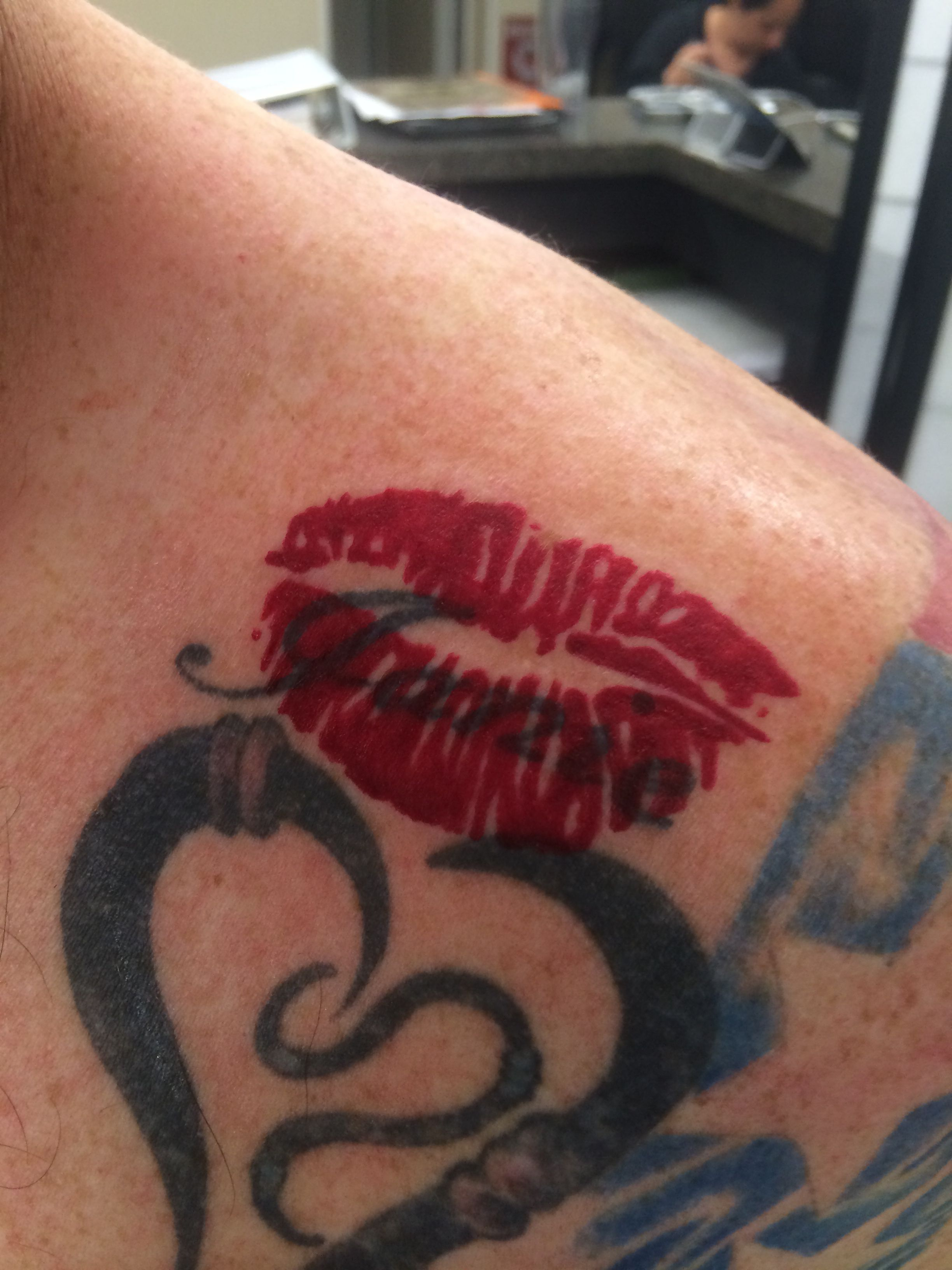 Pair Of Lips Stamped Like Tattoo Over Ex Wifes Name Tattoo Ideas throughout proportions 2448 X 3264