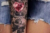 Pink Crystal Heart Forearm Tattoo Ideas For Women Black Floral within dimensions 1149 X 2048