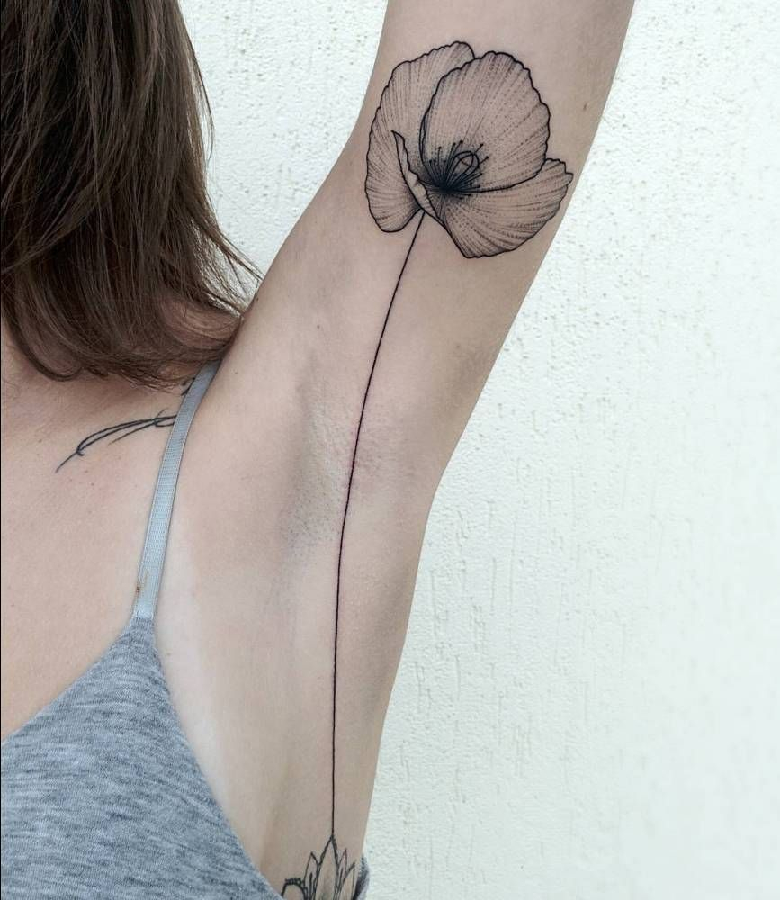 Poppy Tattoo On The Left Armpit Ink Me Up More Piercings Please for sizing 867 X 1000