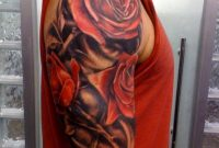Realistic Red Rose Flowers Tattoo For Men On Upper Arm with dimensions 800 X 1066