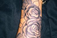 Realistic Vintage Rose Forearm Tattoo Ideas For Women Black Floral for measurements 1209 X 2047
