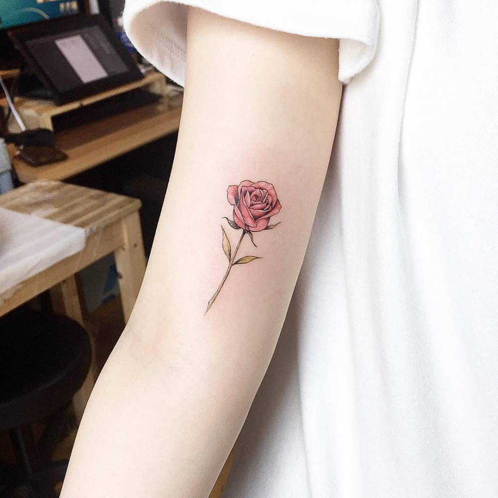 Red Rose Tattoo On The Right Inner Arm in measurements 1000 X 1000