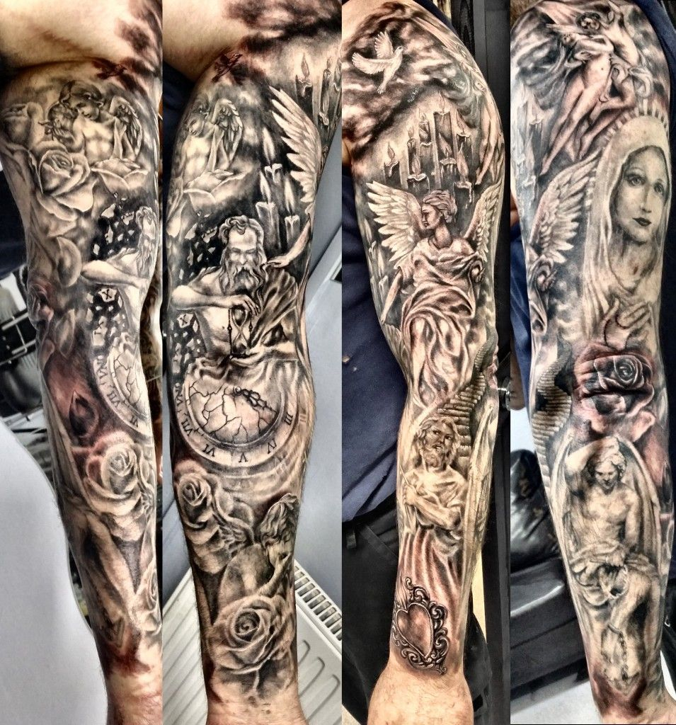 Religious Sleeve Tattoo Justyna Kurzelowska Ideas Manga Tattoo intended for sizing 955 X 1024