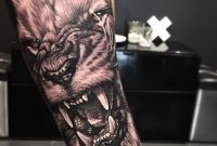 Roaring Wolf Tattoo On Arm with measurements 960 X 960