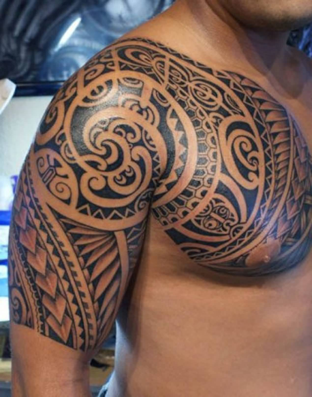 Samoan Tribal Tattoo On Half Sleeve And Chest For Men within sizing 1270 X 1614