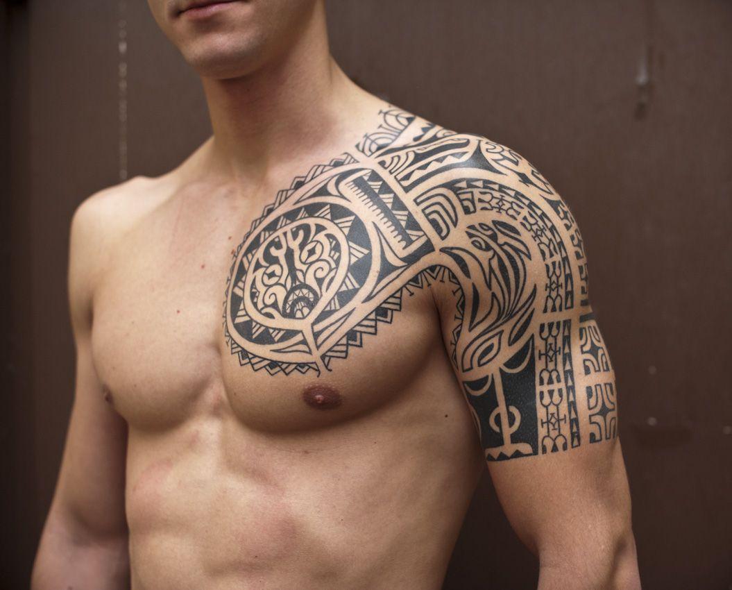 Sexy Men Half Sleeve Tattoos Black Ink Samoan Tribal Half Sleeve inside proportions 1055 X 850
