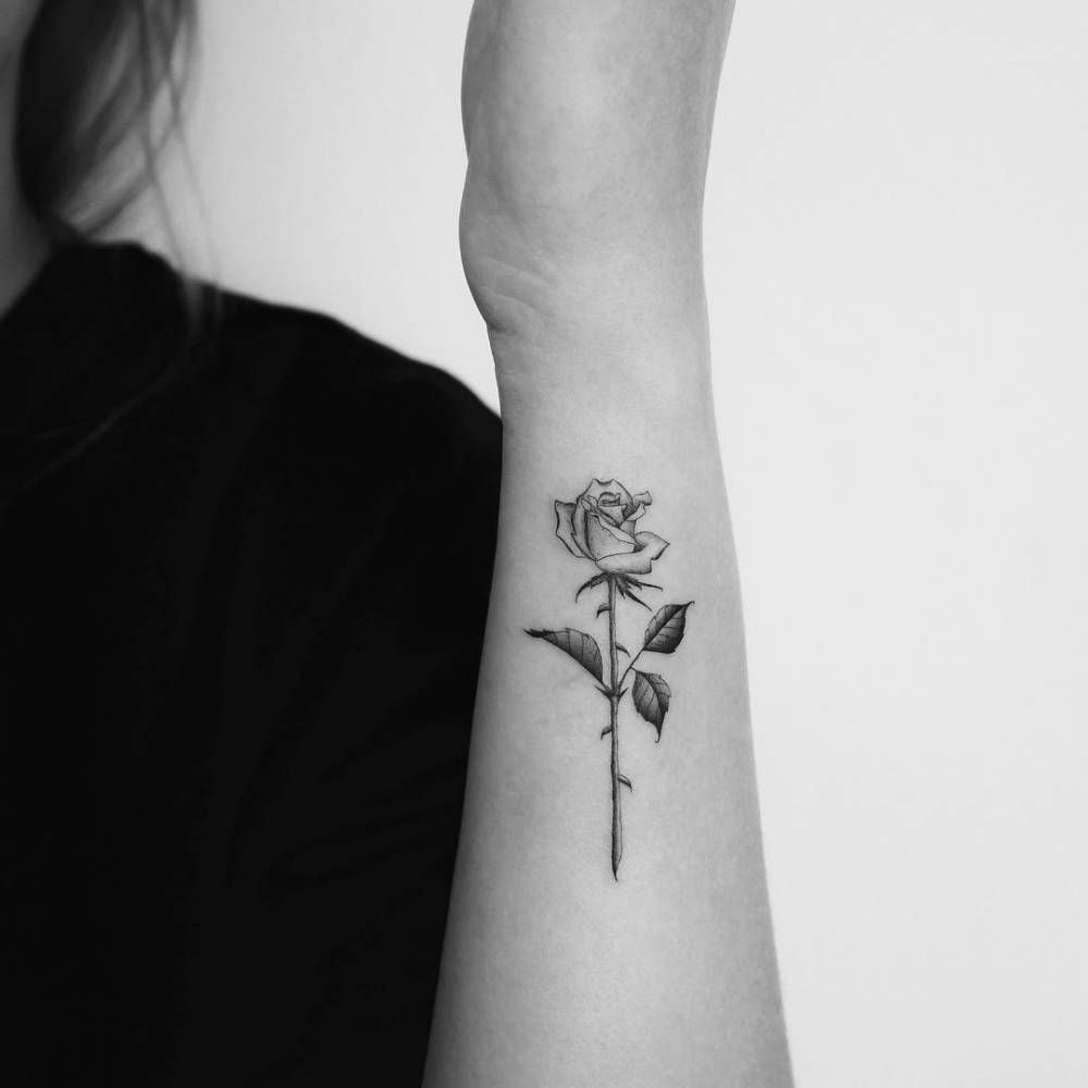 Single Needle Rose Tattoo On The Left Forearm Tattooideasforearm pertaining to sizing 1000 X 1000