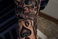 Skull Leg Tattoos For Men Crowned Skull And Spade Card Tattoo On in size 736 X 1309