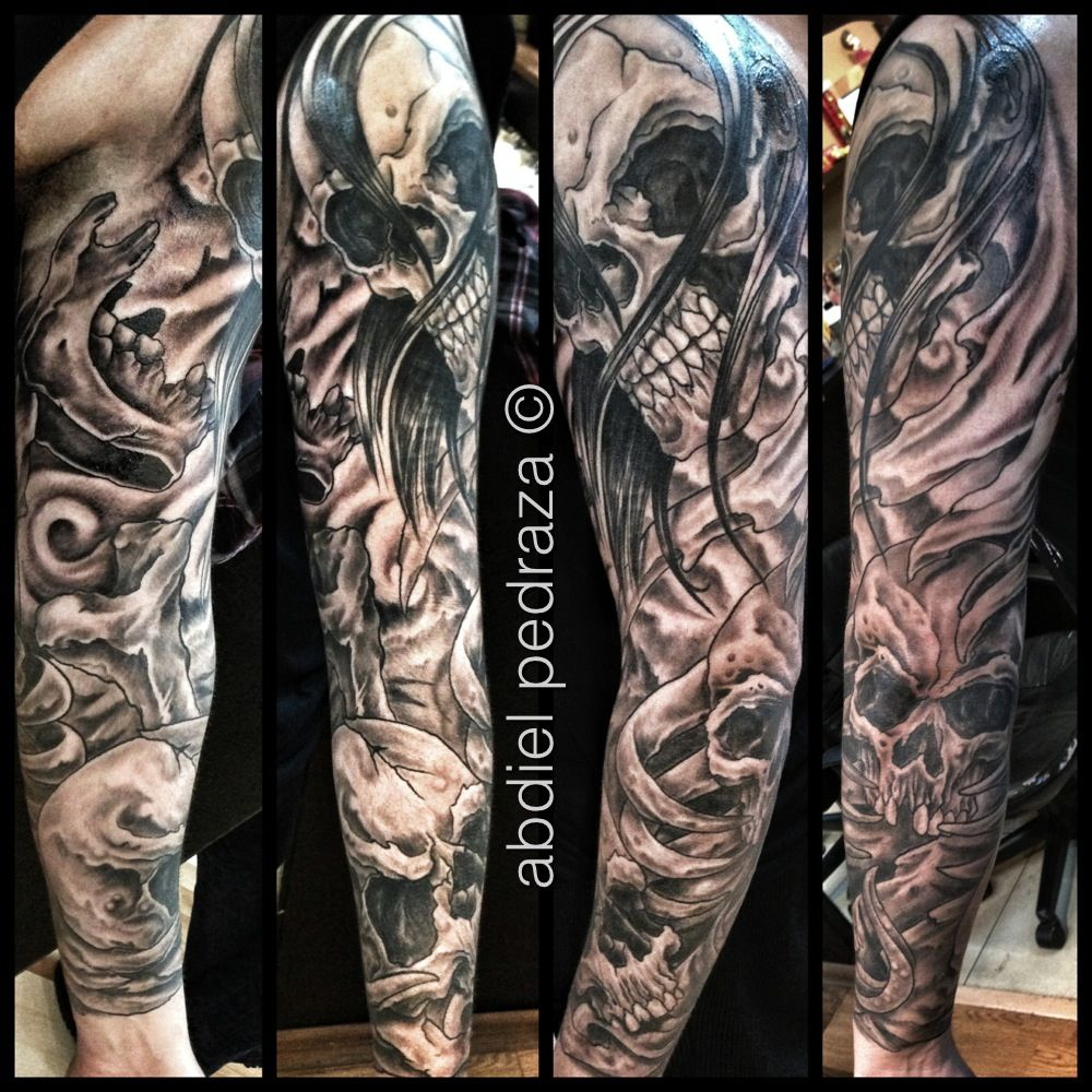 Skull Sleeve Tattoo My Husbands Arm Abdiel Tattoos regarding sizing 1000 X 1000