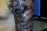 Skull With Pocket Watch Tattoo On Man Left Half Sleeve Skull And inside proportions 1271 X 1600