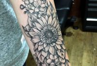 Sunflower And Cherry Blossoms Forearm Tattoo Kylie Wild Heslop throughout dimensions 2748 X 3744