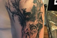 Tattoo Deer Skull Hunting Bow And Arrow Trees Tattoos regarding proportions 1000 X 1334