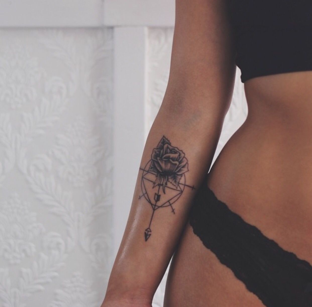 Tattoo Rose Arrow Underarm Arm Bliss Pinte intended for measurements 1242 X 1222