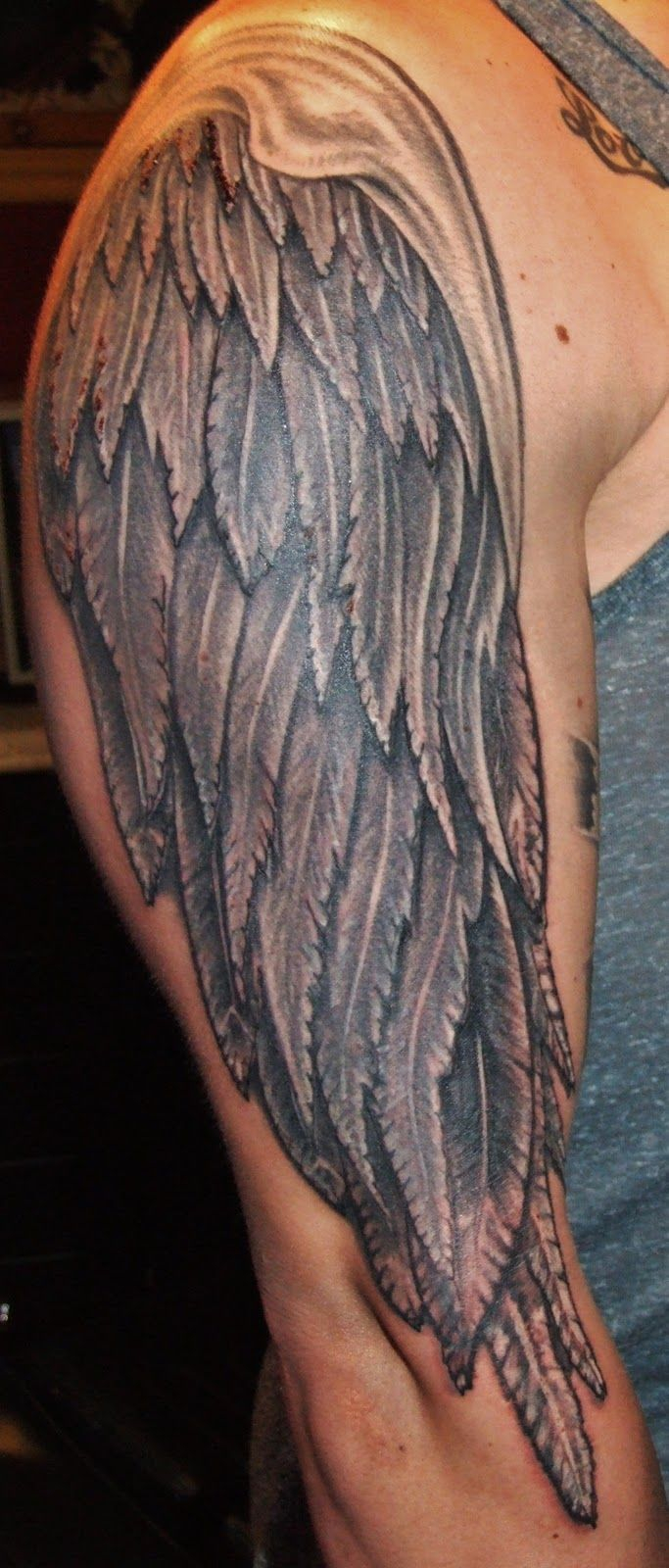 Tattoos Of Wings Full Arm Tattoo Grey Ink Angel Wings Tattoo On in dimensions 683 X 1600