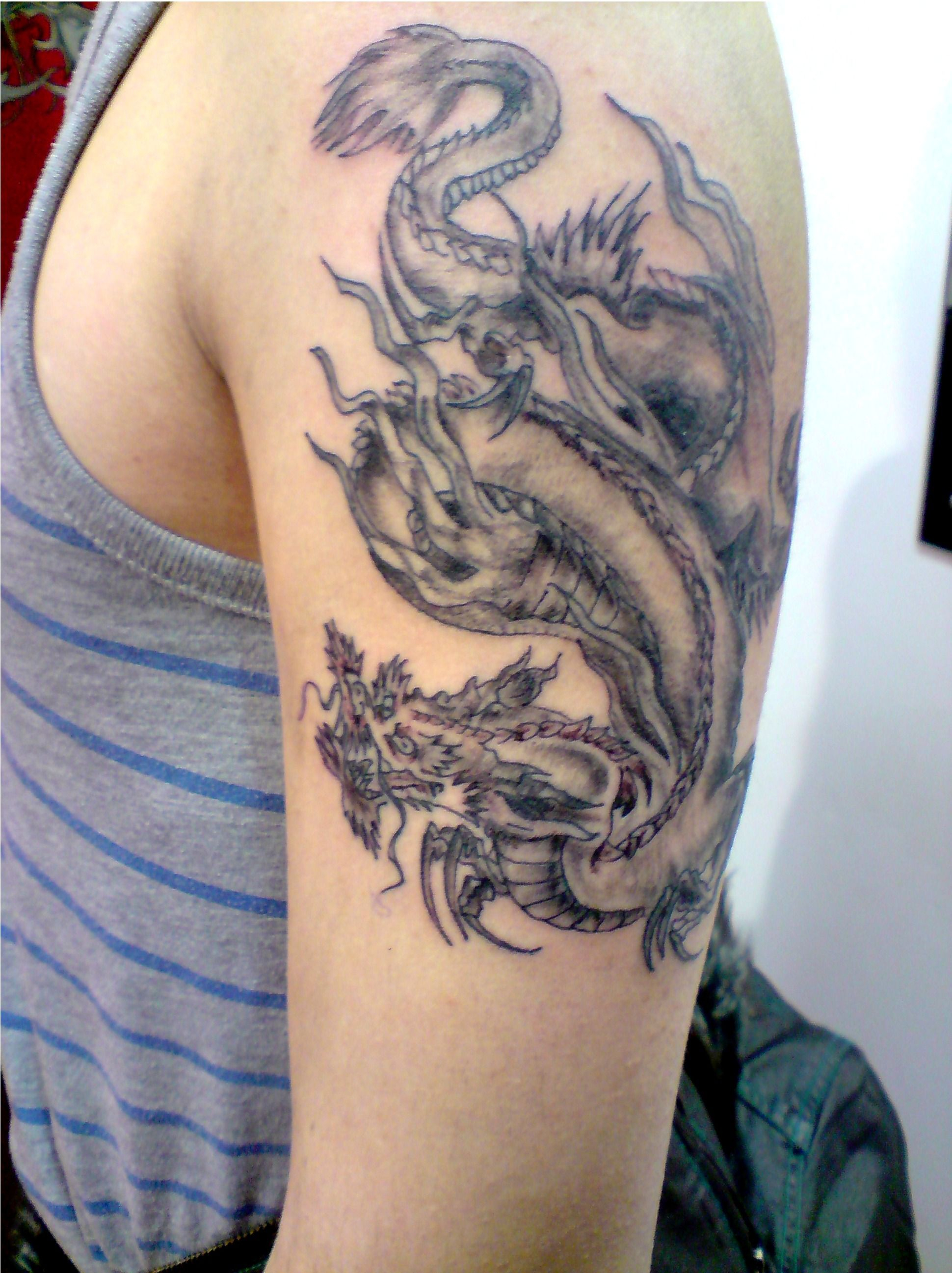 Traditanol Chinese Dragon Tattoo Picture Japanese Dragon Bicep pertaining to size 1940 X 2594