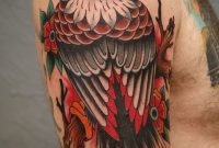 Traditional Tattoo Of An Eagle Perched On A Branch Looking Back intended for dimensions 1217 X 1536