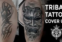 Tribal Tattoo Cover Up Japanese Oni Mask One Session Salvation intended for sizing 1280 X 720