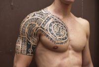 Tribal Tattoos On Chest And Arm Chest And Arm Tribal Tattoos Chest regarding size 1024 X 825