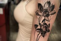 Unique Black Ink Lotus Flower Tattoo On Women Left Half Sleeve with regard to sizing 1080 X 1349