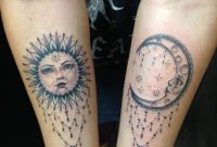 Unique Dotwork Sun And Half Moon Tattoo On Both Forearm in size 1536 X 2048