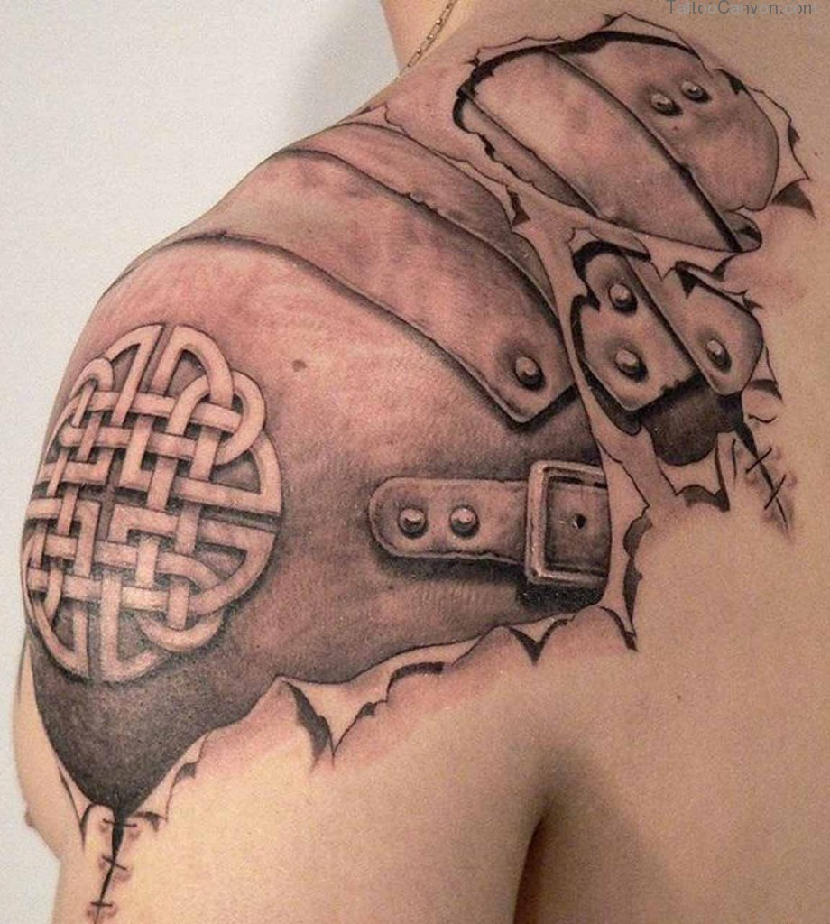 Viking Armor Tattoo On Upper Shoulder in dimensions 920 X 1024
