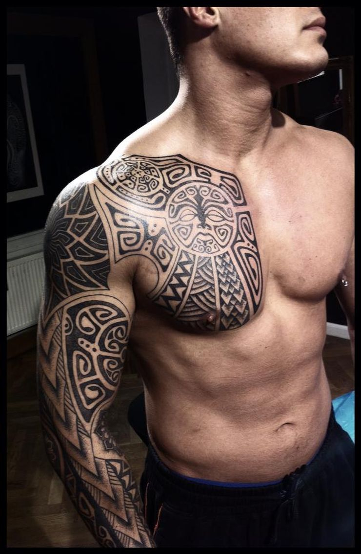 Viking Tattoo On Sleeve And Chest Peter Walrus Madsen intended for sizing 740 X 1133