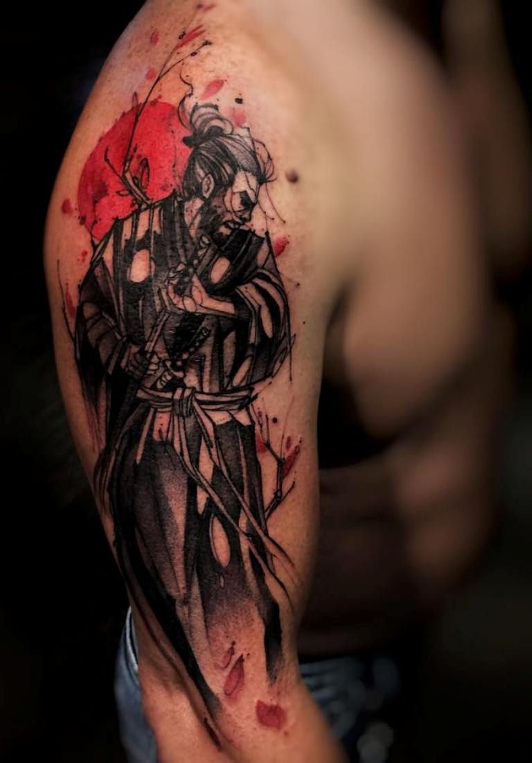 Water Color Samurai Tattoo On Right Sleeve Tatoo Pinte within sizing 768 X 1100