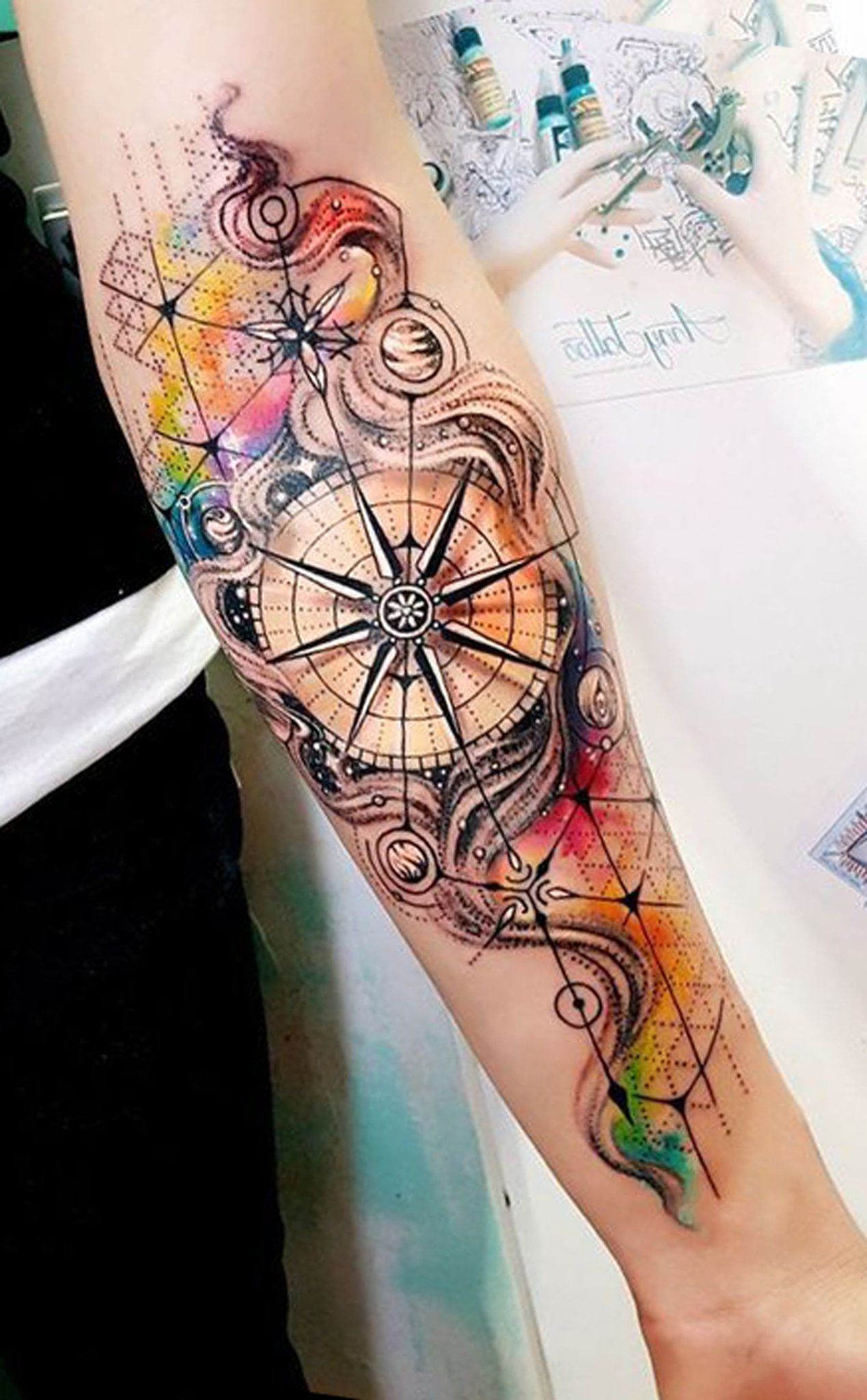 Watercolor Compass Inner Forearm Tattoo Ideas For Women Ides De within sizing 1269 X 2047